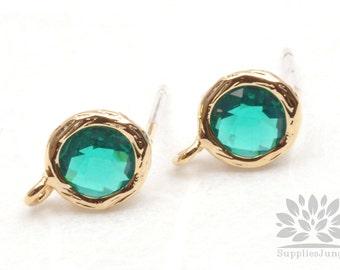 E200-G-EM// Gold Plated Emerald Round Glass Post Earring, 2 pcs