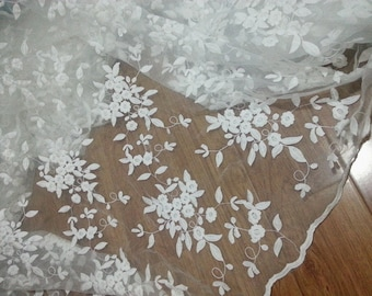 """55"""" Wide White Floral Embroidered Fabric, Bridal Lace Fabric, Organza Floral Pattern Fabric, Curtain Fabric Sewing Supply"""