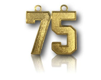 """Number 75 Jersey Style Sports Necklace Charm Pendant (0.8"""" Tall)  GOLD PLATED Football Baseball Basketball Soccer Lacrosse Hockey"""