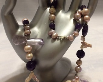 Organized chaos. Amethyst and pearls Statement sterling silver necklace.
