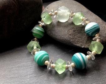 Stretch Bracelet/Matte Opaque Swirled Blue-Green Glass and Recycled Glass Stretch Bracelet