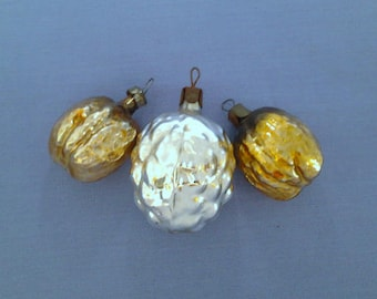 Set of 3 Nuts, vintage soviet glass Christmas tree decoration, made in USSR, 1950s