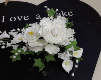 Large White Peony, Calla Lily and Apple Blossom Wedding Cake Topper Decoration