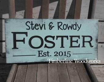 Last name Sign Wedding date sign Carved Established Date Plaque Wall Wedding gift