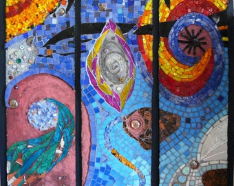 Painting mosaic in glass enamels - Céleste Energie.