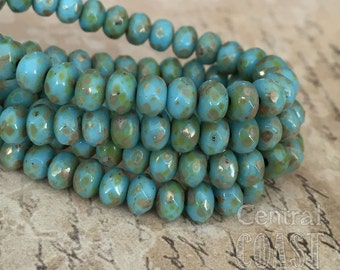 5mm x 3mm Czech Glass Picasso Bead Spacer Faceted Rondelle Puffy Donut (30) Turquoise Blue - Beachy Bohemian Rustic - Central Coast Charms