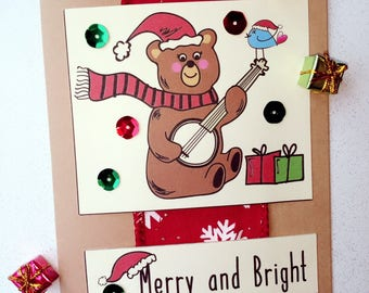 Christmas Bear with Banjo Card, Chistmas Card, Blue Bird Card, Signing Blue Bird Card