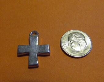 Twenty Pewter Cross Charms