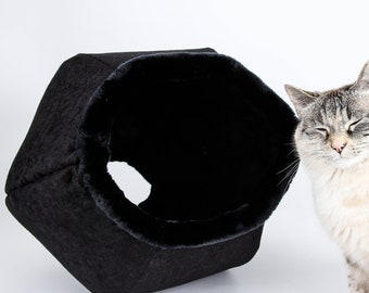 Black Cat Cave Bed with black lining and fur trim - the Cat Ball modern cat bed - all black cat bed