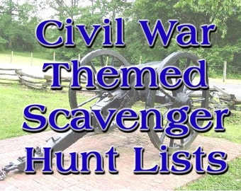 Civil War Themed Scavenger Hunt List Collection