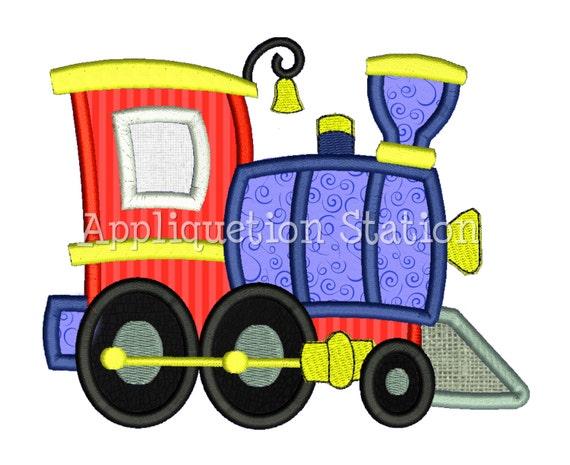 Train engine applique machine embroidery design boy blue red