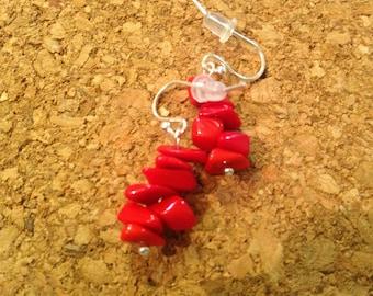 Red beads ear rings