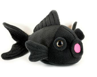 Goldfish Plush Toy, Fish Plushie, Gold Fish Stuffed Animal, Black Moore Telescope Soft Toy, Cute Kawaii Goldfish, Nautical Kids room Decor