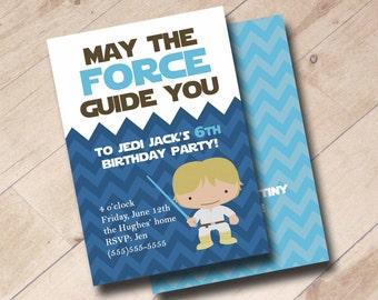 Star Wars Inspired Birthday Invitation - Yoda, Luke Skywalker, Darth Vader, Storm Trooper