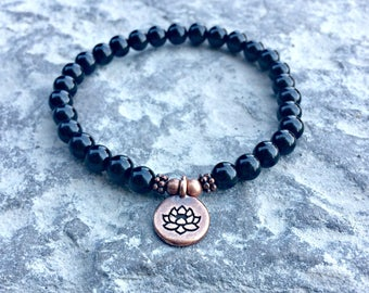 AAA 6mm Black Tourmaline Bracelet, Tourmaline Jewelry, EMF Protection Bracelet, Anxiety Relief, Healing Energy, Purification & Grounding