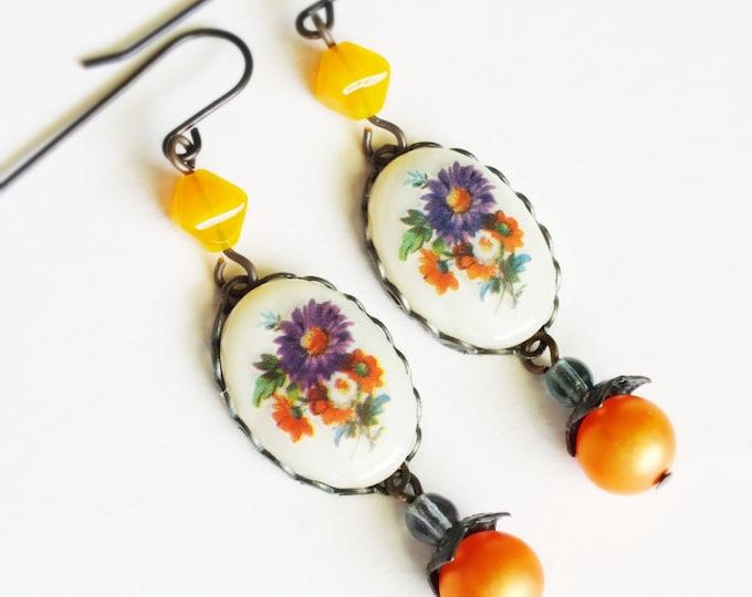 Purple Floral Earrings Vintage Glass Flower Cameos Purple Orange Earrings Floral Dangles Victorian Jewelry Romantic