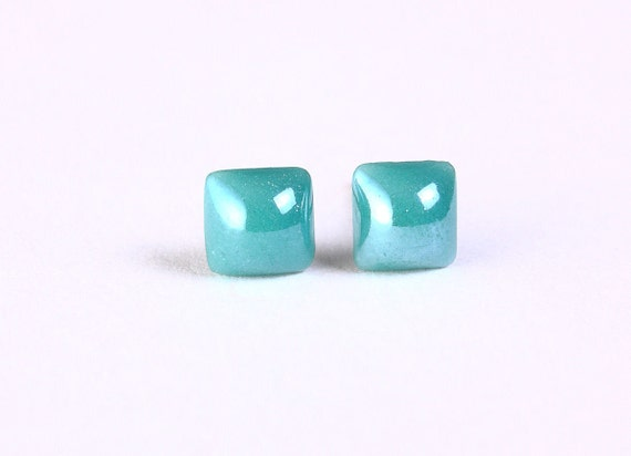 earrings - Petite teal green square hypoallergenic stud earrings - Glass dome earrings - Opaque glass earrings (823)