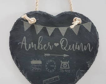 Personalised Laser Engraved Heart Slate Keepsake - Baby, Birthdays, Occasions, Mother's Day, Father's Day, Wedding Gifts