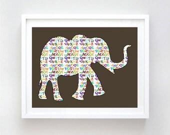 Alphabet Elephant print -  alphabets, safari elephant, nursery decor, kids room, nursery decorating ideas, nursery elephant