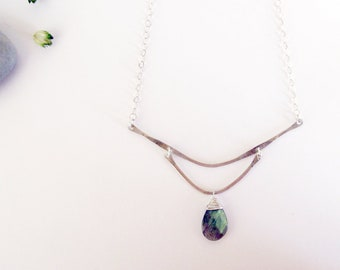 Mountainside Necklace - Recycled Sterling Silver and Labradorite Statement Necklace