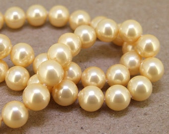 "8mm High Luster Yellow South Seashell Pearl beads Round Shell Pearl Full One Strand 15.5"" in length 48beads Per Strand LB1030"