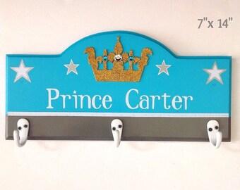 Kids coat rack, boys coat rack, wooden door hangers, prince room signs, personalized coat rack, children's coat racks,boys door signs