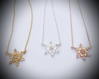 Snowflake necklace Rose gold Gold Silver pendant