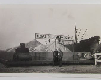 Texas Gulf Sulphur Co Antique Snapshot Man And Woman Under Sign Black And White Photo Ship Photograph Paper Ephemera Historical Occupational