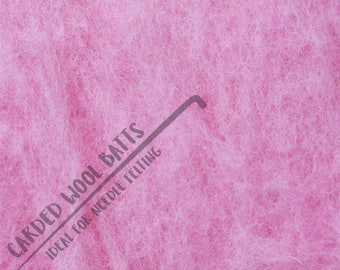 Candy Pink Colour Carded Wool Batts For Needle Felting 5g 10g 20g | 100% Sheep Wool | Baby Pink Candy Candyfloss Pink Girl Pink