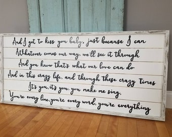 You're everything Michael Buble - Custom Wedding Lyrics - Wedding Lyrics Sign- Custom Wood Sign