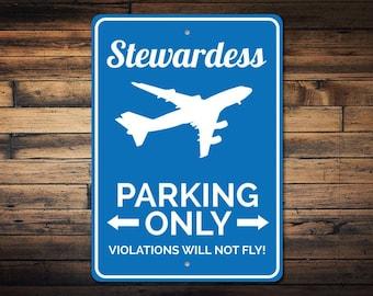 Stewardess Parking Sign, Stewardess Sign, Stewardess Gift, Flight Attendant Sign, Hostess Gift, Hostess Sign - Quality Aluminum ENS1002745