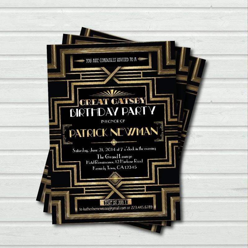 Great Gatsby birthday invitation. Adult birthday. Hollywood
