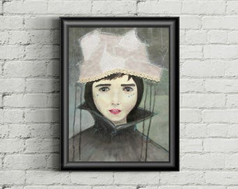 Vintage queen - original mixed media painting on watercolor paper