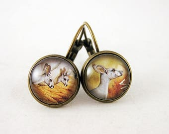 Mama Kangaroo Leverback Earrings, 2005 Australia Postage Stamp, Nickel Free Bronze, Cute Animal Jewelry, Mismatched, Down Under, Aussie