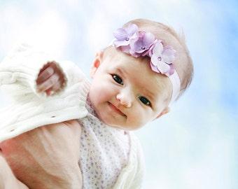 Lavender Purple Flower headband on soft ivory elastic headband, baby headband, newborn headbaand, simple headband