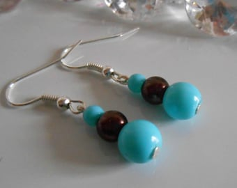 Wedding earrings authentic turquoise and Brown beads