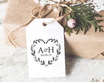 Custom wedding Stamp, Heart Wreath Monogram Stamp, Save The Date Stamp, Wedding Invitation, Rubber Self Inking Stamp, Family Monogram Stamp