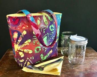 READY TO SHIP Zero Waste Mason Jar Carrier Bag, Pint 2 jar Jars to Go Batik print lunch tote cozy