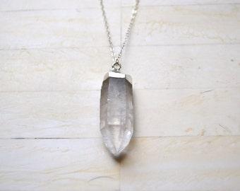 Raw Quartz Necklace Long Silver Necklace Sterling Silver Long Necklace Crystal Necklace Simple Necklace