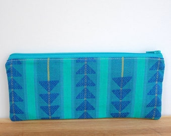 Boho Pencil Case, Green Zipper Pouch, Back to School Supplies, Pencil Zipper Pouch, Cosmetic Bag, Boho Makeup Bag, Blue Pencil Case