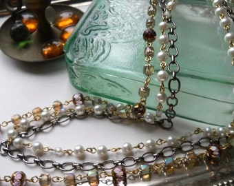 Modern Meets Vintage Multi Strand Long Necklace