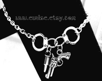 Handcuff  with Gun and Bullet Bracelet