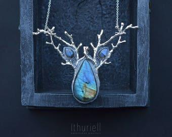 Elven Necklace - Doriath Nights, Labradorite Pendant, Silver Branches, Druid, Strega Amulet, Mermaid, Witchy choker, Gemstone, Faerie, LotR