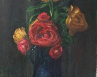 Roses in Blue Pitcher