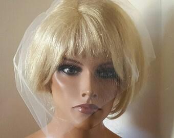 Wedding Veil, Bridal Veil, Tulle Bridal  Veil, White, Ivory, Champagne, Black, Small Wedding Veil, Face Veil, Short Veil, Wedding Veils,