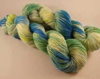 Hand dyed Merino / Nylon yarn, Sock weight, 100g, SUNNY RIVERSIDE, blue, green, yellow, sock yarn