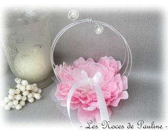 "Holder, pink and white large flower rings wedding ""Scrolls"" b"
