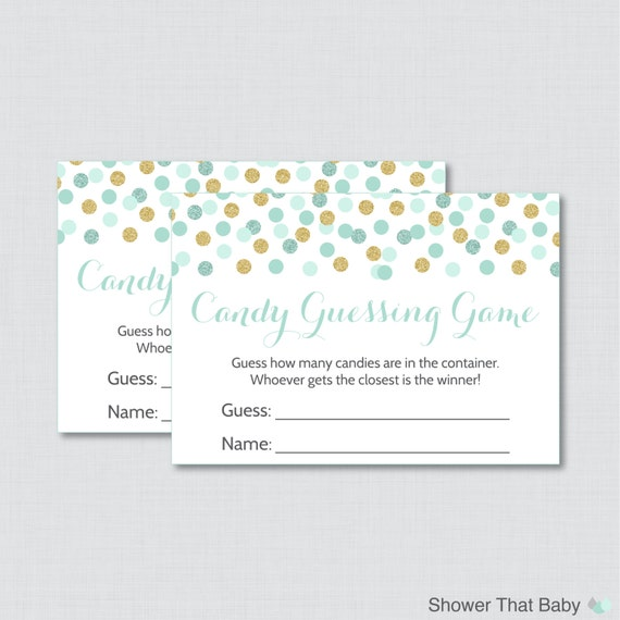 mint and gold baby shower candy guessing printable