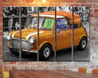 Vintage Car Wall Canvas Art Classic Retro Golden Austin Mini Cooper Picture Poster Print on Canvas Panels