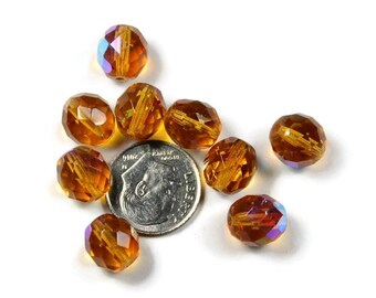 10 Czech Fire Polished Topaz AB Faceted Oval Glass Beads 10MM